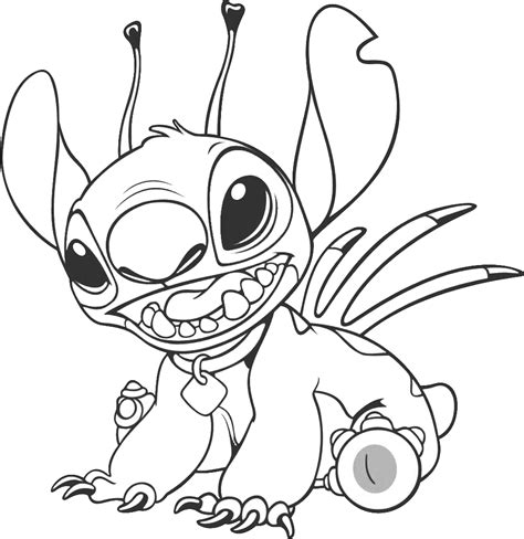 free disney stitch and angel coloring pages