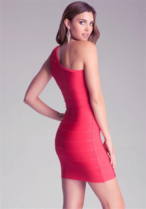 One Shoulder Bandage Dress lyst bebe oneshoulder bandage dress in pink