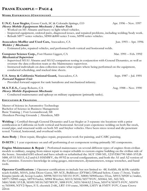 federal resume sles format federal employment resume resume ideas