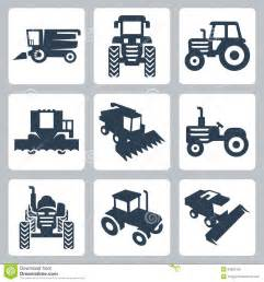 Barn Plans Designs Vector Tractor And Combine Harvester Icons Royalty Free