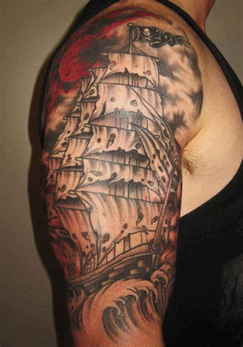 nautical half sleeve tattoos ship tattoos designs pictures