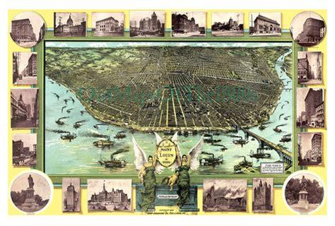 st louis missouri in 1896 bird s eye view map aerial