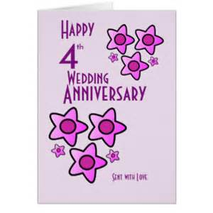 4th wedding anniversary cards invitations zazzle co uk