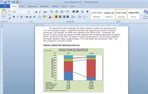 ms word sections presenting data with charts