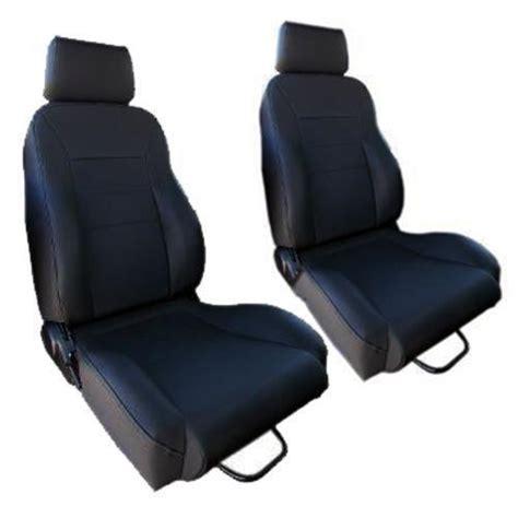 early bronco seats custom seats w brackets black vinyl denim pair