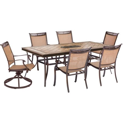Hanover Fontana 7 Piece Aluminum Rectangular Outdoor 7 Patio Dining Set With Swivel Chairs