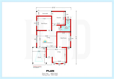 Floor plan of 1200 sq ft house
