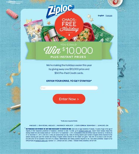 Free Online Instant Win Sweepstakes - holidayca ziploc com ziploc chaos free holiday instant