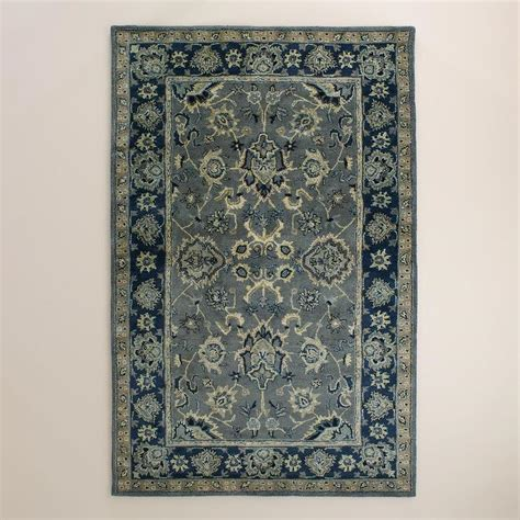 Blue And Grey Area Rugs Agra Tufted Wool Blue And Grey Area Rug