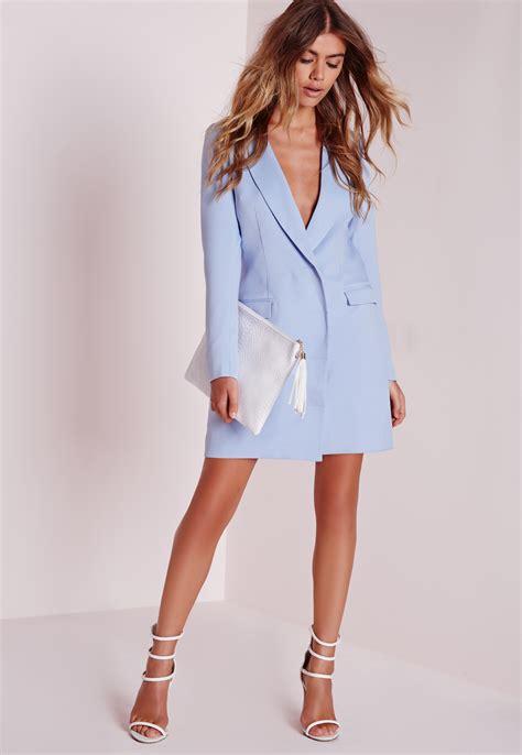Kaos Longsleeve Origins Kaos Motif Pisang missguided sleeve blazer dress blue in blue lyst
