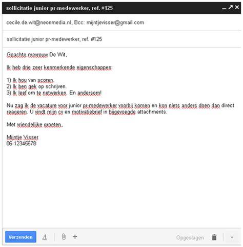 Voorbeeld Afwijzing Sollicitatie sollicitatie mail