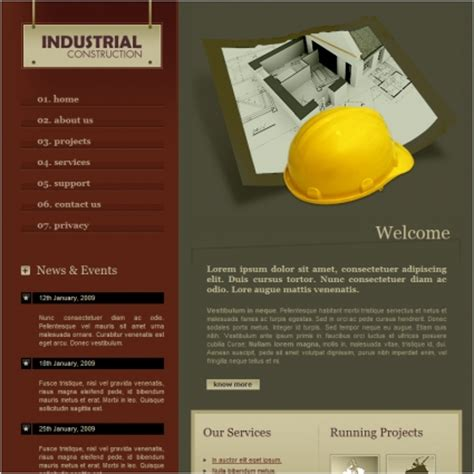 industrial construction template free website templates in