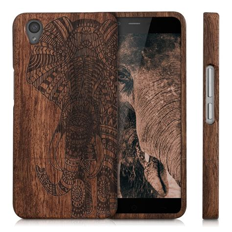 wood elephant pattern wood cover for oneplus x dark brown rosewood elephant