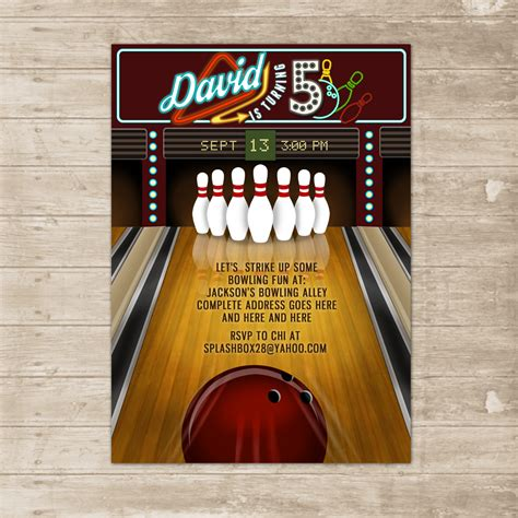bowling party invitation bowling lane alley ball invite