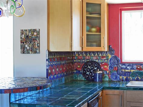 colorful glass backsplash ideas adding digital prints to 30 colorful kitchen design ideas from hgtv kitchen ideas