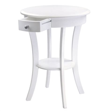 white round accent table wood round accent table with drawer curved legs in white