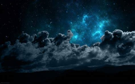 landscape night space clouds mountain silhouette