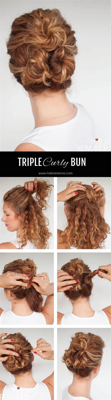 everyday hairstyles for curly thick hair easy everyday curly hairstyle tutorials the curly triple bun