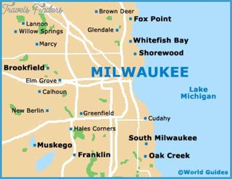 map of milwaukee area milwaukee map tourist attractions travelsfinders