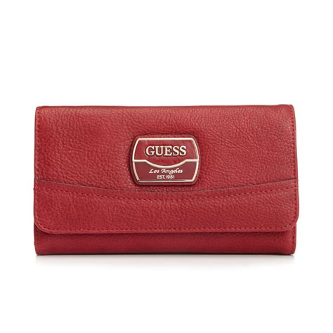 Guess Wallet 10 guess handbag hazelton slim clutch wallet in ruby lyst