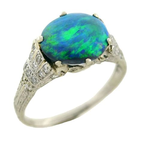deco opal ring deco black opal platinum ring at 1stdibs