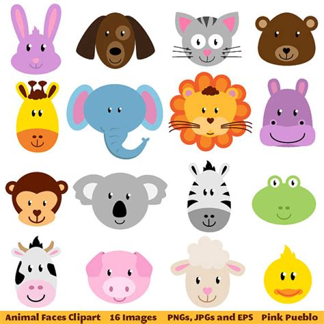 free printable zoo animal clipart animal faces clipart clip art zoo jungle farm by pinkpueblo