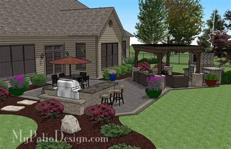 Rear Patio Designs by Rear Paver Patio Design With Pergola Fireplace Bar
