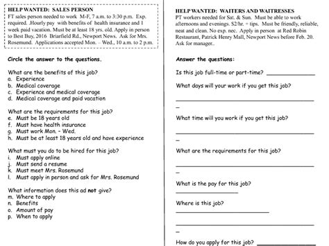 Classifieds Psychology Employment Wanted Worksheet Answers