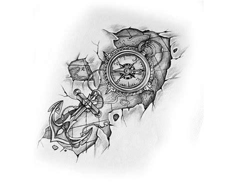 compass tattoo vorlagen 196 hnliche artikel wie kompass mit anker und karte tattoo