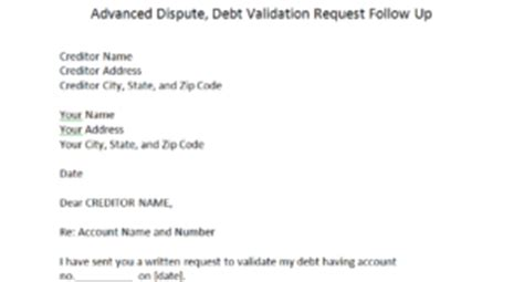 Dispute Follow Up Letter Debt Validation Request Ignored Dispute Letters That Work