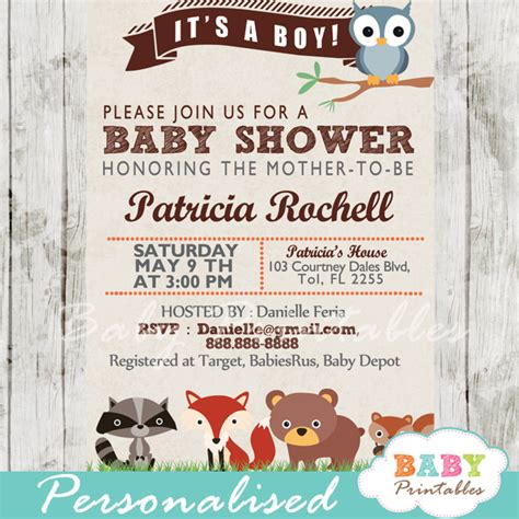 Animal Themed Baby Shower Invitations by Woodland Baby Shower Invitation D137