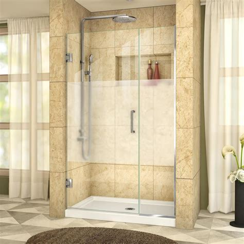 38 Shower Door Shop Dreamline Unidoor Plus 38 5000 In To 39 In Frameless Chrome Hinged Shower Door At Lowes