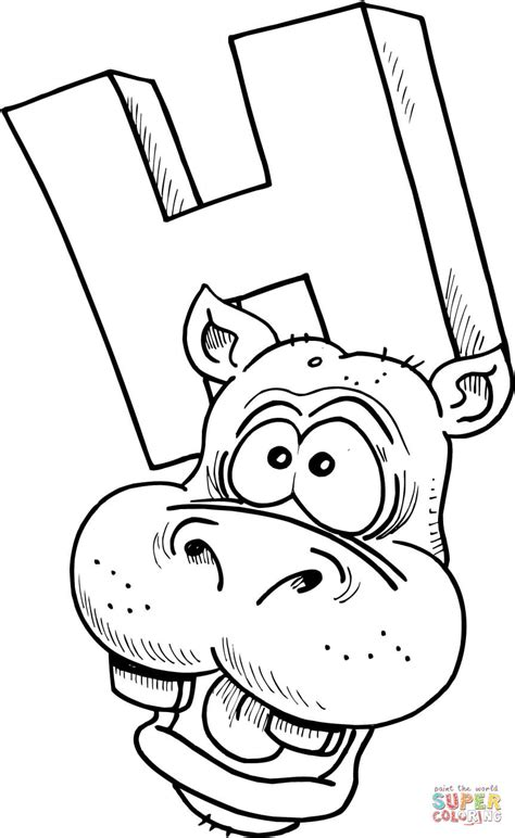 Letter H Is For Hippopotamus Coloring Page Free H Coloring Pages