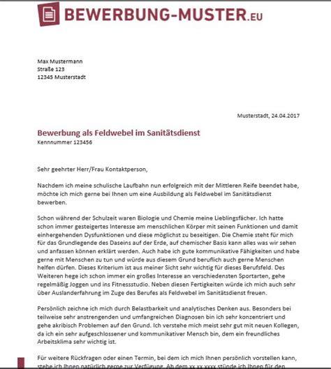 Anschreiben Bewerbung Muster Flugbegleiter bewerbungsvorlage zum feldwebel im sanit 228 tsdienst
