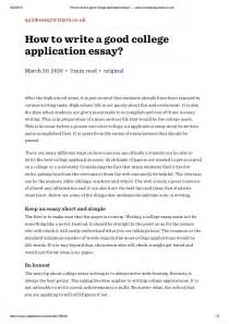 How To Write A Collage Essay by How To Write A College Application Essay Www Quickessaywriter