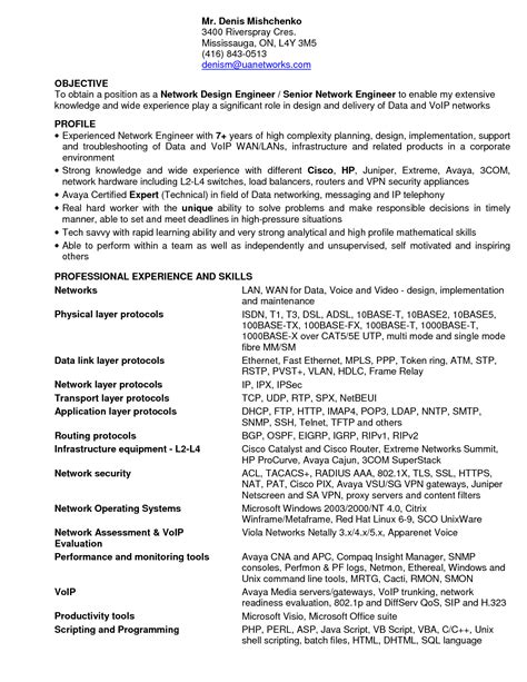 entry level network engineer resume sle resume ideas