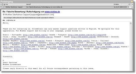 Offizielle Email Auf Englisch Mcafees Erste Reaktion Deutsche Beschwerden Sinnlos