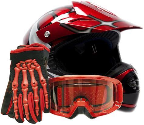 motocross helmet and goggles kids motocross youth atv red spiderman helmet gloves and