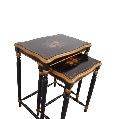 oriental accent tables 80 off oriental accent oriental accent nesting tables with painted flower design tables