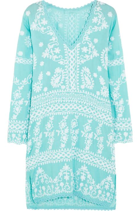 Volia Tunik By Morist lyst odabash natalie embroidered voile kaftan in blue