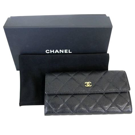 Black Walet Box chanel black caviar ghw snap wallet in box at 1stdibs
