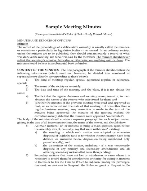 Robert S Of Order Minutes Template