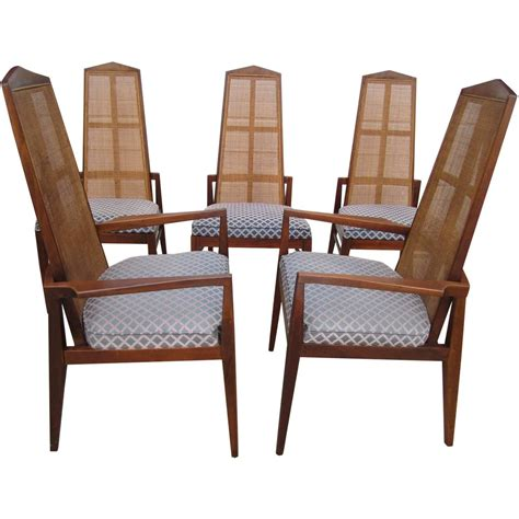 Wicker Back Dining Room Chairs 5 Walnut Foster And Mcdavid Back Dining Chairs Mid Century Modern For Sale At 1stdibs