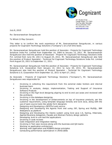 appointment letter for quality engineer experience certificate sle for quality engineer choice