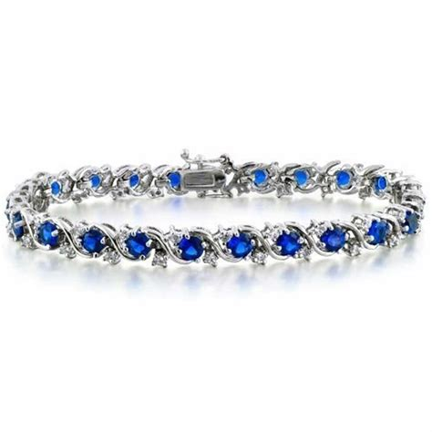 CZ Blue Sapphire Color Waved Silver Tennis Bracelet
