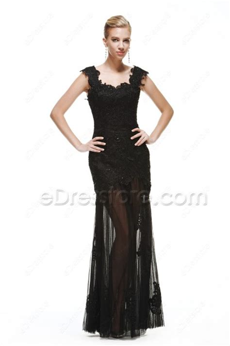 black lace dresses see through black lace sparkle see through prom dresses with straps