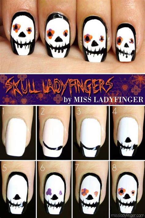 halloween nail art tutorial skulls 20 step by step halloween nail art design tutorials 2017