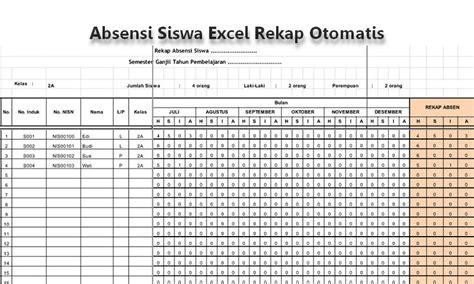 Contoh Format Absensi Dosen | contoh format absensi siswa berbasis excel rekap otomatis