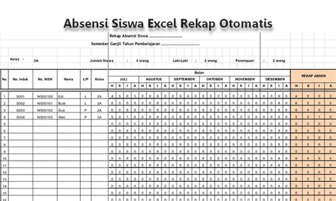 contoh format grafik absensi siswa contoh format absensi siswa berbasis excel rekap otomatis