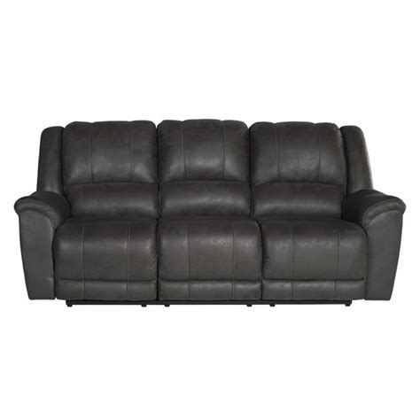 grey leather reclining sofa niarobi faux leather reclining sofa in gray 4060088